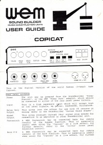 Soundbuilder Copicat instructions page 1