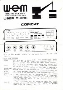 Soundbuilder Copicat instructions page 1